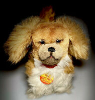 """Steiff Puppy Dog Plush Stuffed Animal Peky Brown White Soft Toy 7"""" Red Collar"""