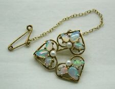 Gorgeous Stylish Lovely Quality 9ct Gold Opal And Pearl Brooch