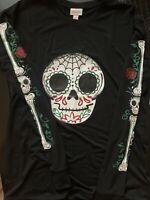 Lularoe Halloween Sugar Skull~Bones~Roses Long Sleeve Hudson 2020 S BNWT HTF