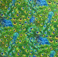 ~ 1/2 Yard Exotica Peacock Bird Feathers, Elizabeth's Studio 100% Cotton Fabric