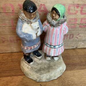 C. Alan Johnson Alaska Eskimo Couple Figurine  Dated 1958 Bear Cub *FLAW*