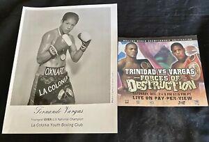 "FERNANDO VARGAS PHOTO ""Youngest U.S. Natl. Champ"" + VARGAS v TRINIDAD PAMPHLET"