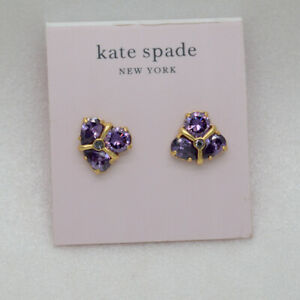 Kate Spade New York 18K Unique Gold Plated Purple Cut Crystal stud post earrings