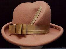 VTG Lancaster Fedora  Hat Camel Beige 100% Felted  Wool Tribly Bow