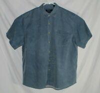 Nat Nast American Fit Button Down Blue Short Sleeve Shirt XL