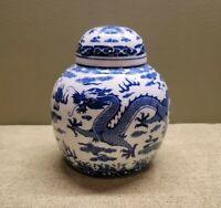 VINTAGE Chinese Dragon Design Lidded VASE Blue & White Glazed Vase ☆PRISTINE