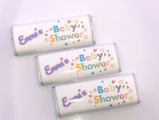 12 Personalised Unisex Baby Shower Chocolate Bar WRAPPERS Favours, Ref B7kk