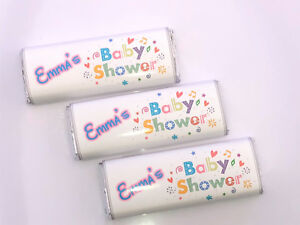 20 Personalised Unisex Baby Shower Chocolate Bar WRAPPERS Favours, Ref B7kk