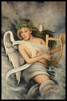 "36""x 24"" Oil Painting on Canvas, Angel with a Harp"