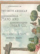 BOSTON TRADE CARD, SMITH AMERICAN PIANO & ORGAN. 531 TREMONT ST FREE SHIP TC3008