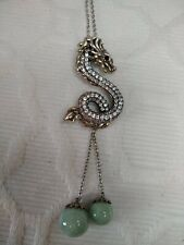 Sterling Silver Dragon Pendant, Ruby,Jade & CZ With Chain $99.00