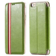 """Luxus RWS Flip Cover Hülle für iPhone 6 / 6S (4.7"""" Zoll) Leder Case GRÜN GREEN"""