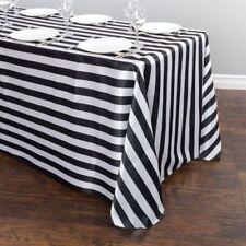"Black & White Striped Satin Tablecloth 90""x136"" Charmeuse Print Silk Usa Qs 5-25"