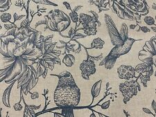 Indigo Birds Toile Linen/Cotton 140cm wide Curtain/Upholstery Fabric