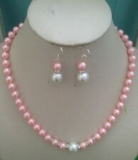 8MM Pink /White South Sea Shell Pearl necklace earrings set AAA Grade
