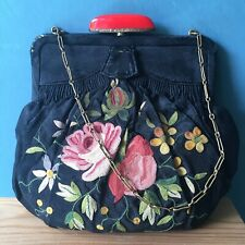Art Deco Black Gathered Embroidered Handbag Red Clasp Chain