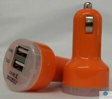 ORANGE Universal Dual USB Cable Car Cigarette Lighter Charger Adapter 2 Double