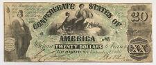 Scarce 1861 Confederate States Of America $20 Richmond Va Confederate Note;J145