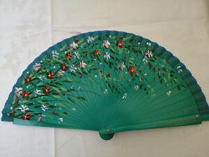Spain Flamenco Handfächer Pocket Fan Folding Fan Wooden C Grün