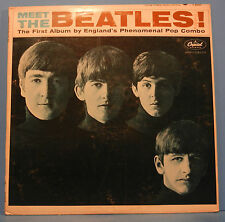 MEET THE BEATLES T-2047 VINYL LP 1964 MONO ORIGINAL RAINBOW GREAT COND! VG/VG!!D