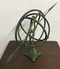 Iron metal Garden Arrow Armillary Sphere Sundial Rustic Green Verdi