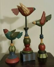 Folk Art Carved Birds by Midwest of Cannon Falls (Set of 3) Rare