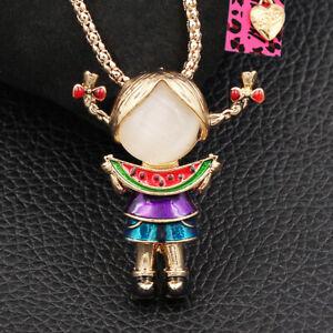 Betsey Johnson Cute Little Girl Eat Watermelon Pendant Chain Necklace/Brooch Pin