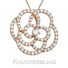 Diamond Pendant: Certified 1.10ct F VS Round Brilliant 18ct Rose Gold with Chain
