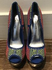 NEW UNIQUE BLUE SUEDE OPEN TOE NEON STUDDED/ CRYSTAL HEELS SZ 5.5