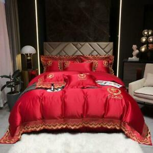 6pcs bedding set Luxury Lace embroidery quilt cover flat sheet 4 pillow shames
