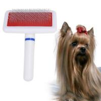 Slicker Brush Red Massage Dog Cat Hair Pet Grooming Soft Comb Quick Clean Tool