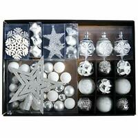 Silver Christmas Tree Decorations Baubles & Star Set White and Sliver 68 pcs