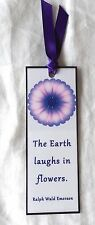 Flower Bookmark The Earth Laughs in Flowers Purple Mum Laminated NEW