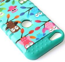 iPod Touch 5th 6th Gen - HARD&SOFT RUBBER IMPACT CASE TURQUOISE GREEN OWL BIRDS