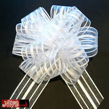50MM LARGE ORGANZA RIBBON PULL BOWS VARIOUS COLOURS WEDDING/PARTY/GIFTWRAP