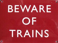 New 30x40cm Beware of Trains railway retro large metal wall sign