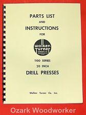 Walker Turner 1100 Series 20 Drill Press Operators Amp Parts Manual 0738