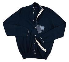 GRAN SASSO Blue Extrafine Cotton 8 Btn Cardigan Sweater Jumper 52 L NWT $225