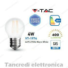 Lampadina led V-TAC 4W E27 bianco caldo 2700K VT-1974 G45 globo bianca filamento