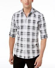 ALFANI $55 NEW 3327 Plaid Roll-Tap Sleeve Shirt Mens Shirt Top L