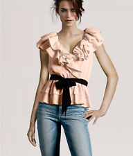 H&M Peach Light Baby Pink Blush Black Ruffle Collar Peplum Top Blouse 4 XS S