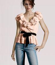 H&M Peach Light Baby Pink Blush Black Ruffle Collar Peplum Top Blouse 4 XS S