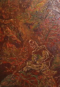 Vintage abstract portrait oil painting