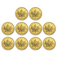 Bank Wire Payment. Canada 1 oz Gold Maple Leaf .9999 Random Yr Lot of 10