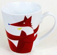 Starbucks Cup Mug Red Fox Bird Winter Large White Red Ceramic EUC