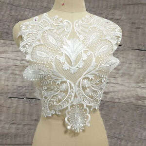 Embroidery Lace Applique Patches Trim Motif Floral Sew on Bridal Dress Ivory DIY