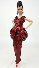 Deep Red Evening Dress Outfit Gown For Silkstone Barbie Fashion Royalty Rupaul