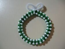 "3"" Wreath: Beaded Ornament (New York Jets colors) NEW handmade"