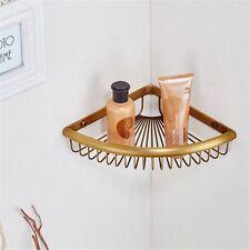 1-Tier Triangular Corner Shelf Basket Shower Caddy Storage Holder Antique Brass