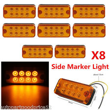 8pcs Amber 8LED Universal Waterproof Side Marker Light Car Truck Trailer Caravan